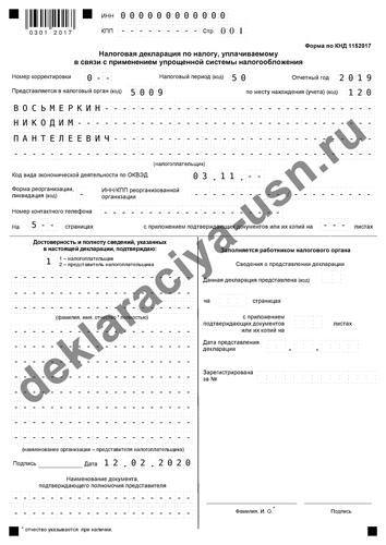Декларация по усн ип при закрытии образец заполнения